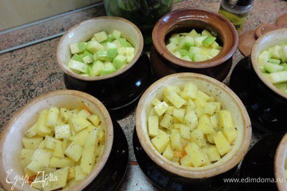 Картофель (вы видите и кабачки) посолить, поперчить и разложить по горшочкам. В каждый горшочек залить 50 г мясного или овощного бульона (или горячей воды), закрыть крышкой и поставить в холодную духовку. Нагреть до 220-250 градусов (зависит от сорта мяса) и запекать 40 минут.