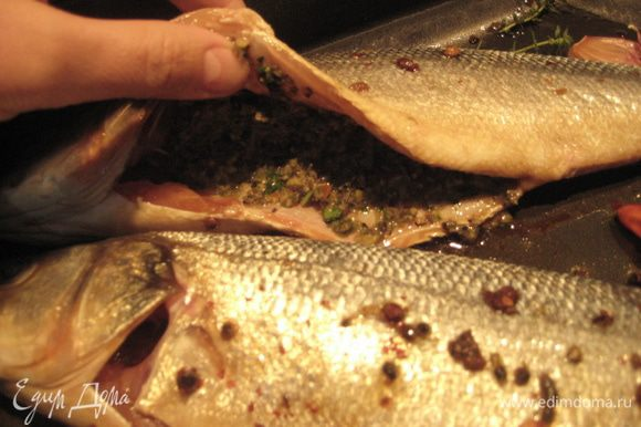 В брюшко рыбы положить 2 ч.л. тапенада. Тут мне позировала рыба сибас, которую я готовила по этому же принципу. Противень смазать оливковым маслом, выложить рыбу, зубчик чеснока и кусочек острого красного перчика, налить вино.
