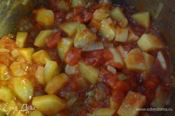 Затем добавляем помидоры. Я использовала свеже-консервированные рубленые томаты без специй.