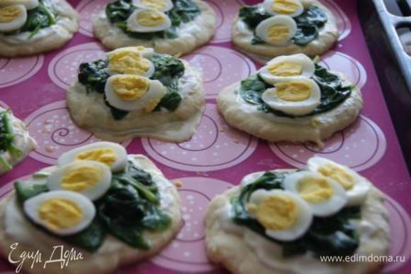 Вареные перепелиные яйца порезать кружочками. Выложить на пирожки.