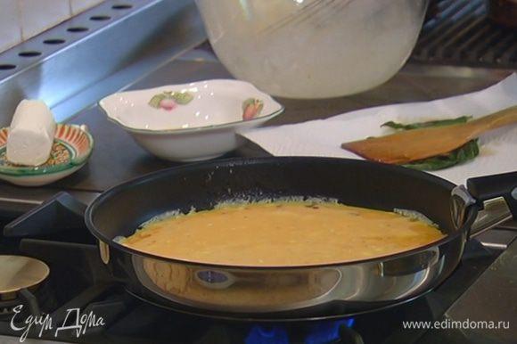 Лишнее масло из сковороды слить, поставить ее на огонь и влить яичную массу.