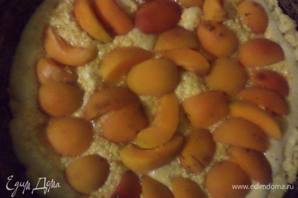 Миндаль очистить, измельчить в блендере в крошку. Сливочное масло комнатной температуры взбить миксером, добавить сахар, тщательно взбить. Добавить по одному яйца, продолжая взбивать. Добавить лимонную цедру, натёртую на мелкой тёрке и миндаль, перемешать. Вылить крем в подпечённый корж, сверху выложить дольки абрикосов, присыпать 1 ст.лож. сахара, выпекать 50 - 60 минут.