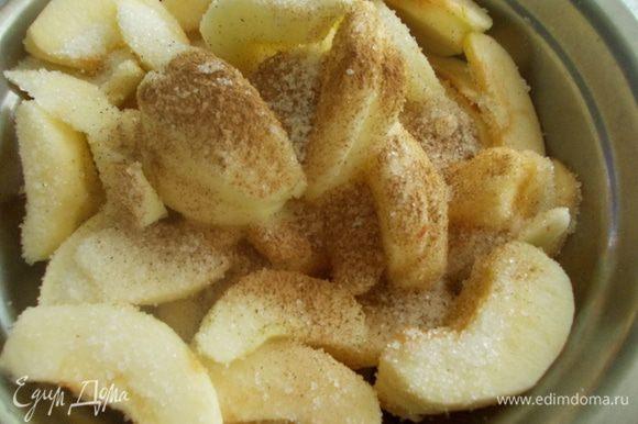 Яблоки очищаем от кожуры, вырезаем внутренность и режем дольками. К яблокам добавляем сахар, соль, корицу и оставляем на 15 -20 минут.