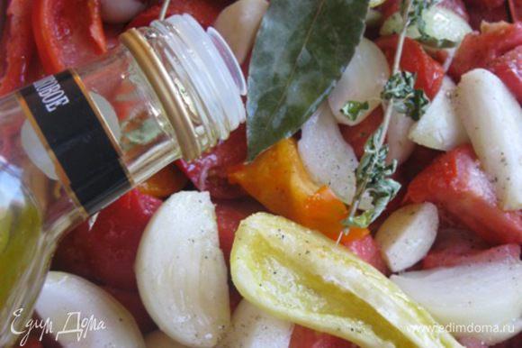 Добавить оливковое масло. * В ингредиентах указала - по вкусу, количество регулируйте сами, я налила примерно 150 гр. Все хорошо перемешать.