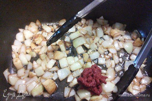 Обжарьте в том же масле, добавить томатную пасту, еще раз коротко обжарить.