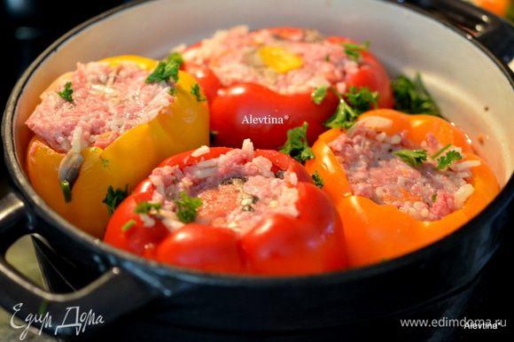 В жаропрочном блюде или в жаровню вылить готовый соус, перцы с фаршем и зеленью. Закрыть крышкой или фольгой. Поставить в разогретую духовку на 200 гр. на 50 мин.