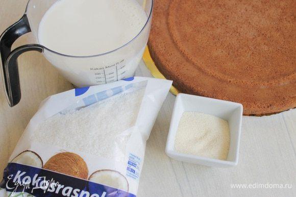 Итак берем готовый бисквит шоколадный и кокосовую стружку.