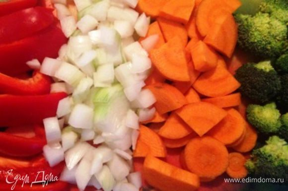 Овощи помыть, почистить, нарезать произвольно.