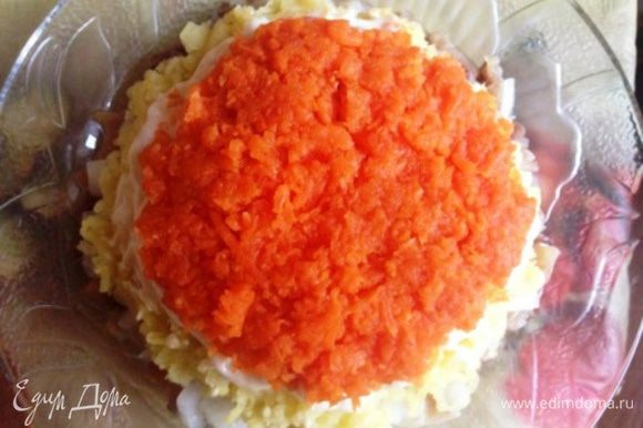 Следующий слой - морковь, намазать майонезом.