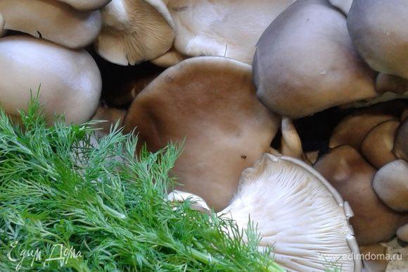 Это грибочки и зелень (грибочков взять чуть больше, около 1,1 - 1,2 кг). Воду наливаем в большую кастрюлю. Положить перец горошком, лавровый лист, сахар и ложку соли с горкой. Довести до кипечения.