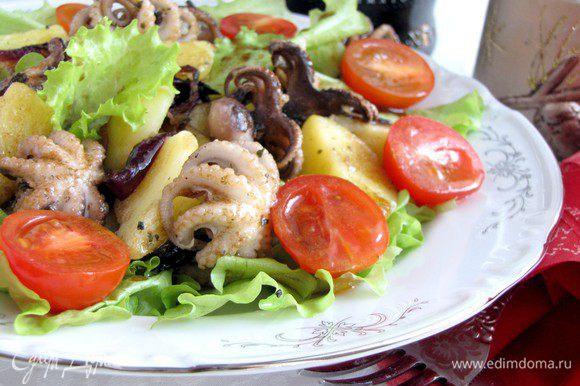 Листья салата нарвать на удобные для еды кусочки, положить их на тарелку. Сверху выложить картофель с осьминогом и залить заправкой. Украсить салат листочками мяты (у меня не было) и помидорками черри. Приятного аппетита!
