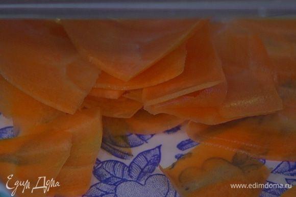 Морковь и свеклу почистить и нарезать тонкими хлопьями или натереть на терке.