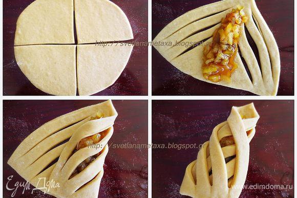 Для начинки груши очистить от кожуры и семян, порезать на маленькие кусочки. В кастрюлю налить 100 мл воды, высыпать сахар и варить в течении 10 минут. В сироп добавить сок лимона и положить груши. Варим груши постоянно перемешивая до появления золотистого цвета. Оставляем остыть. Формовка булочек: Готовое тесто обмять и разделить на 3 одинаковые части. Из каждой части раскатать круглый пласт, диаметром примерно 20-25 см (точно не замеряла), разрезать на 4 одинаковые части. На каждом треугольнике сделать 3 надреза параллельно каждой из 2-х сторон. В середину положить начинку (1.5 ст. л.). Накрыть начинку сначала с одной стороны, затем с другой.