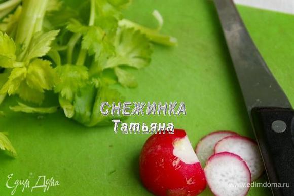 Подготовим зелень, моем и просушиваем веточки петрушки или сельдерея, и листья салата. Редис нарезаем на тонкие кружочки.