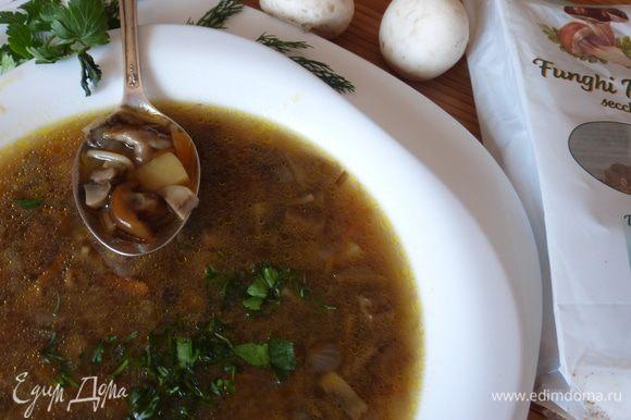 Вот такой ароматный грибной суп получился. Даем супу настояться хотя бы 30 минут, разливаем суп по тарелкам и посыпаем мелко нарезанной зеленью.