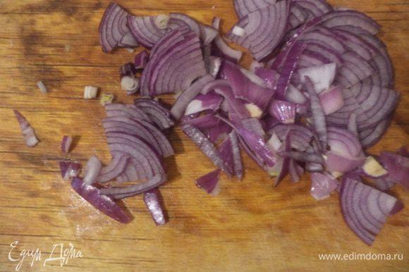 Красную луковицу очистить, разрезать пополам и нарезать тонкими полукольцами.