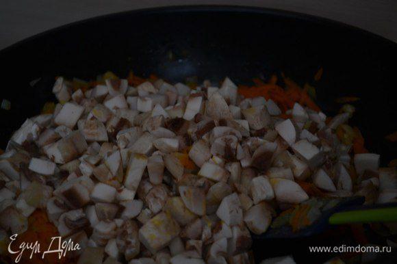 На сковороде обжарить лук, морковь, грибы. Довести до готовности.