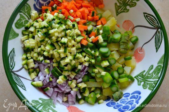 Все овощи перекладываем в миску.