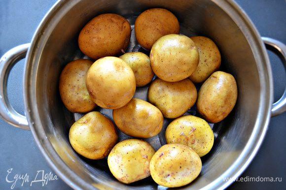 Нам потребуются ровные некрупные клубни картофеля. Его необходимо тщательно помыть и отварить в мундире. Остудить, снять шкурку и порезать кружочками (крупные кружки разрезать пополам).