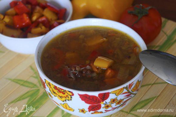 Подаем суп, налив его в тарелки для супа, уложив поверх кусочки обжаренного перца. Болгарский перец можно подать в отдельной чаше, тогда каждый сможет положить себе то количество перца, которое ему нужно. Приятного аппетита!