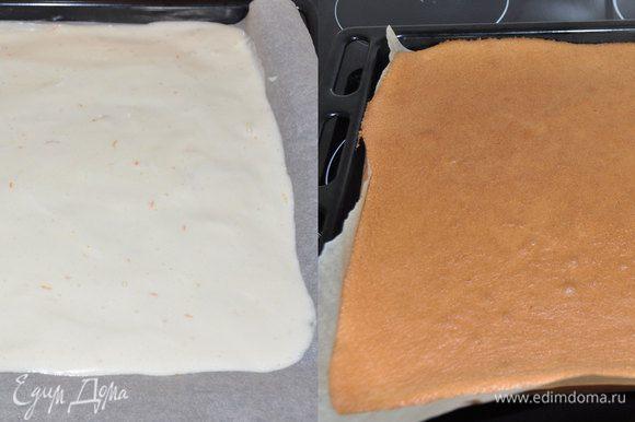 Вылить тесто на противень, застеленный пергаментом и выпекать в разогретой до 180 градусов духовке около 20 минут до пробы на сухую лучинку.