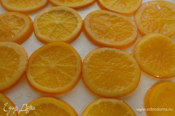 Апельсины выложить на противень, застеленный бумагой для выпечки и поместить в духовку минут на 30 при 100 градусах. Так они примут красивый карамельно-прозрачный вид.