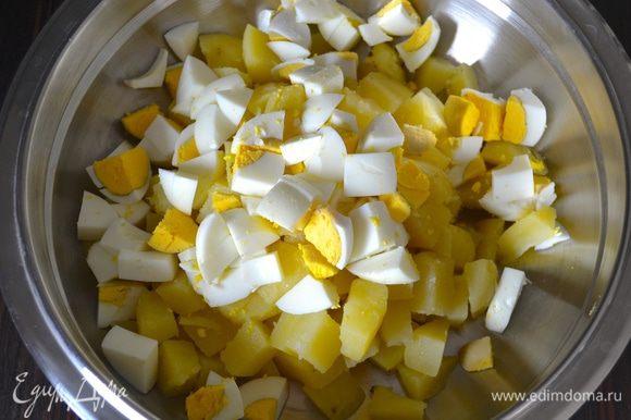 Яйца очистить и тоже нарезать кубиками, желательно равного размера с картофелем. Добавить к картофелю.