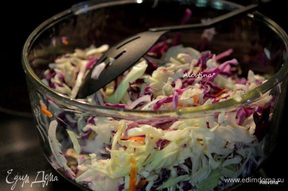 Капусту порубить по половинке кочана каждая. Луковицу небольшую порезать тонко. Морковь небольшую натереть.