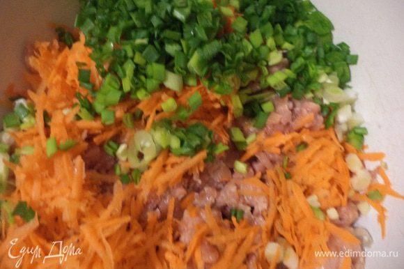 Куриное филе пропустить через мясорубку. Морковь очистить и натереть на крупной тёрке. Зелёный лук нарезать тоненькими колечками. Всё соединить в миске.