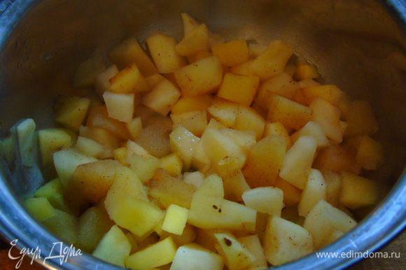 Сложить в сотейник с толстым дном, добавить корицу и 1 ст.л. воды, на медленном огне довести до мягкости.