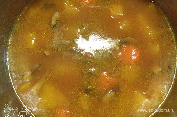 Когда закончатся 10 минут, поставленные на таймере, добавляем к супу морковь, картофель и перец чили. И варим суп на небольшом огне еще 10 минут. В конце варки солим, перчим, добавляем кориандр и мускатный орех.