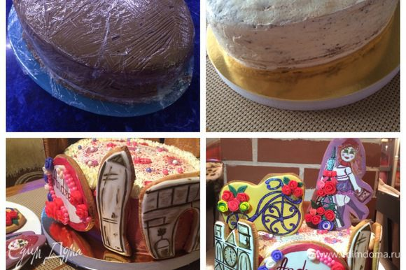 Теперь торт необходимо охладить и оставить его на пропитку ( у меня на ночь). Я обмотала его пищевой пленкой и убрала в холодильник. Мне нужно было украсить торт по особенному. Поэтому я выбрала украшение пряниками, которые я заранее испекла и разрисовала вот в такой тематике. Для упрощения процесса, просто для домашнего чаепития торт можно просто обсыпать орехами, а сверху украсить свежими ягодами, фруктами, на свое усмотрение.