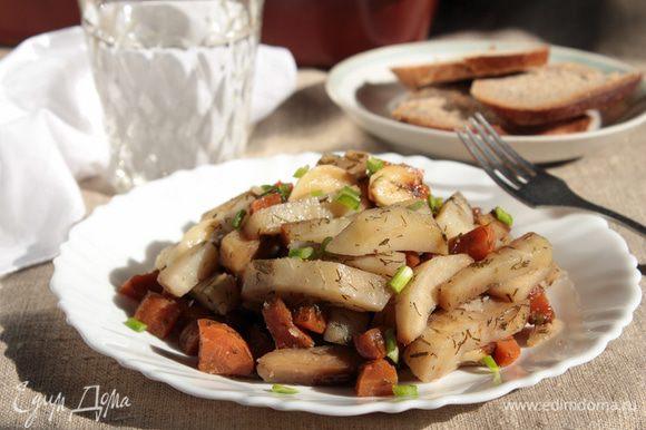 Готовые овощи аккуратно перемешать, выложить на блюдо, при желании посыпать зеленью. Приятного аппетита!