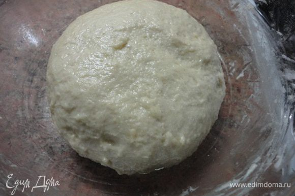 Соединить сухие и жидкие ингредиенты и замесить тесто. Оставить в тепле для подъема.