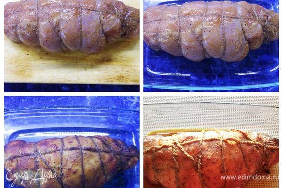Сворачиваем мясо в рулет, перевязываем нитью. Отправляем руле выпекаться в разогретую до 180°C духовку на 60-70 минут. Периодически рулет смазываем образовавшимся при выпечке соком, если начинает слишком румянится, накрываем фольгой и следим за своей духовкой.