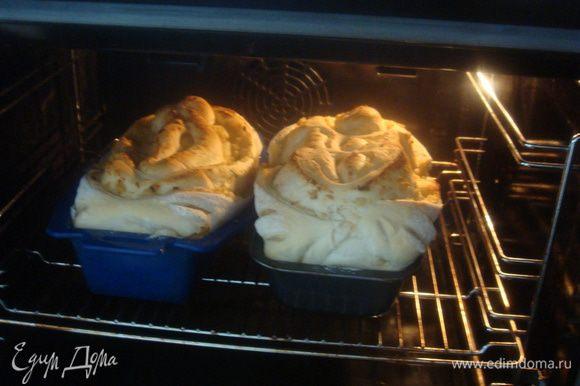 Подошедший хлеб печем при 220°C 15-20 минут, затем уменьшаем до 200°C и еще печем 25-30 минут. Проверяем готовность хлеба деревянной шпажкой.