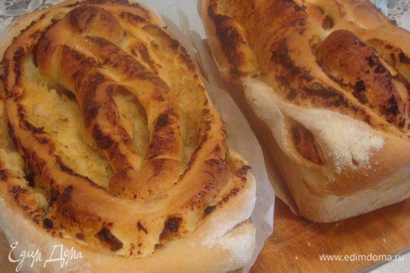 Вынуть хлеб из духовки. Вытягиваем аккуратно из форм, даем остыть.