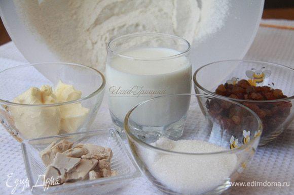 Муку просеять. Слегка подогреть молоко. Масло заранее вынуть из холодильника. Понадобится: 390 г муки в/с, 80 г сливочного масла, 230 г молока, 2 ст. л. сахара, 1 ч. л. соли, 30 г свежих дрожжей.