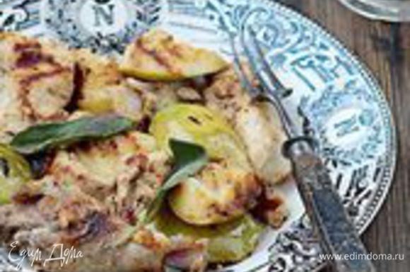 Нанизывайте кусочки цесарки на шампуры, перемежая их ломтиками яблок. Старайтесь стряхнуть с мяса как можно больше маринада. Готовьте на углях, время от времени смазывая шашлык растительным маслом и часто переворачивая. Цесарка, покрывшись румяной корочкой, будет готова примерно через 20 минут. Подавайте шашлык горячим.