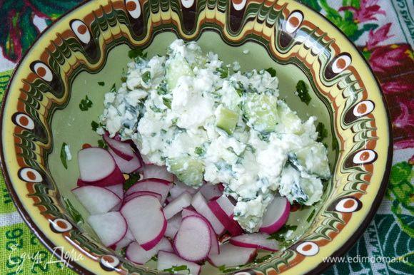Редис нарезать дольками, выложить на дно салатника. Сверху творожная масса .