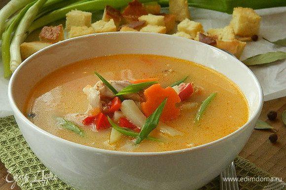 Разлить суп по тарелкам и посыпать зеленью. Подавать с сухариками. Приятного аппетита!