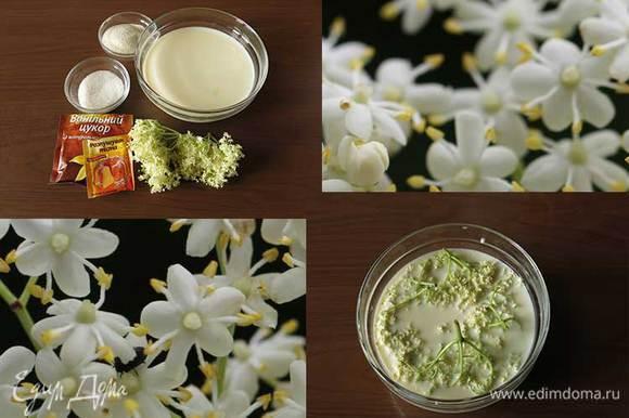 Молоко, манная крупа, сахар, ванильный сахар и соцветия бузины (в ингредиентах цветы цуккини). Вместо соцветий можно добавить в молоко сироп из цветов бузины. Соцветия заливаем молоком на ночь. Соцветия не моем, сохраняем пыльцу.