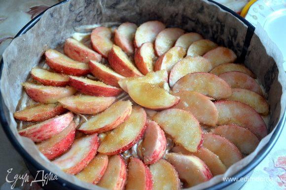 Выложить яблоки на тесто. Поставить пирог в предварительно разогретую до 180°С духовку примерно на 55 минут. Проверить готовность зубочисткой. Остудить пирог, вынуть из формы.