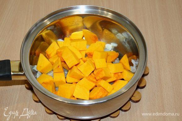 Добавить кубики тыквы, перемешать и тушить около 10 мин, периодически помешивая.