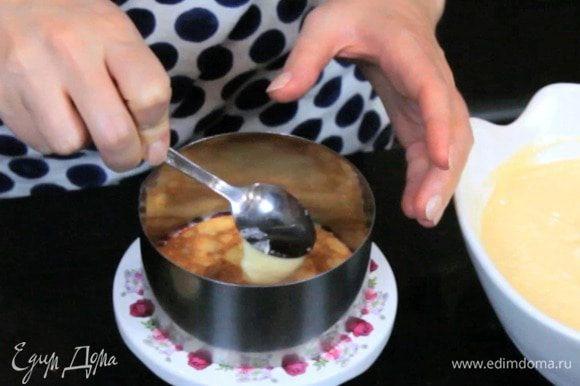 Собрать торт, промазывая блины кремом. Убрать в холодильник на 1 час перед подачей.