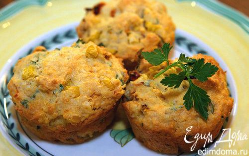 Рецепт Маффины с чесноком и вялеными помидорами