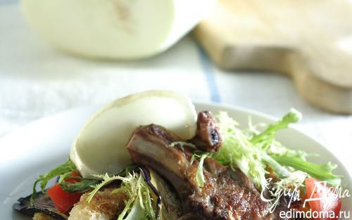 Рецепт Ягнятина с теплым салатом и крутонами