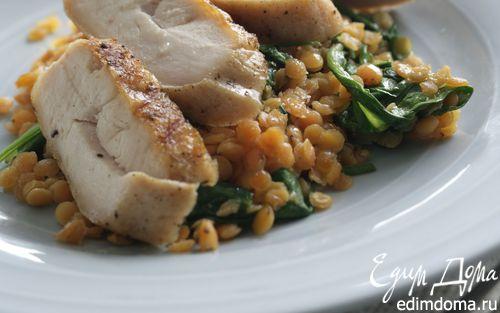 Рецепт Курица-гриль с жареным шпинатом и чечевицей