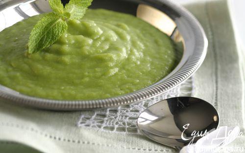 Рецепт Картофельный суп с луком-пореем и зеленым горошком
