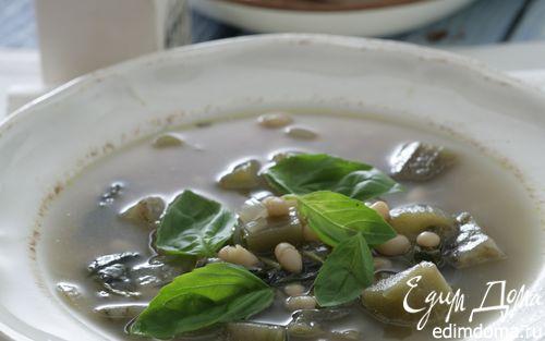Рецепт Суп из баклажанов, базилика и белой фасоли